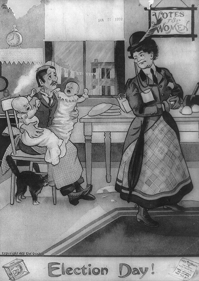 anti-suffrage postcard - Cartoon - VOTES Tor WOMEX JAN 21 1909 tAA /HEN A ARTY WNAC ze coprright 909 EW Gusti Election Day!