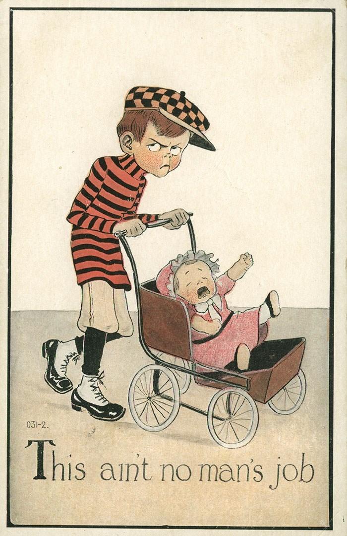 anti-suffrage postcard - Vintage advertisement - 031-2 This aint no man's job