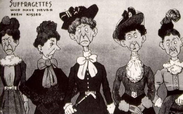 anti-suffrage postcard - Cartoon - 5UFFRAGETTES WHO MAVE NEVER PEEN KISSED