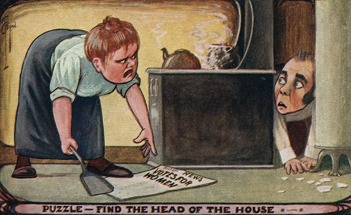 anti-suffrage postcard - Cartoon - NEWS WOMEN PUZZLE FIND THE HEAD OF THE HOUSE