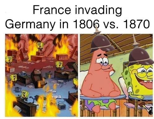 dank memes - Cartoon - France invading Germany in 1806 vs. 1870