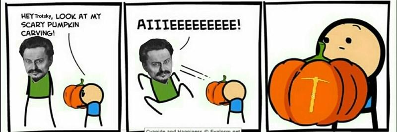dank memes - Cartoon - HEY Trotsky, LOOK AT MY SCARY PUMPKIN CARVING! AIIIEEEEEEEEE! CHapide and H: e Fualesm nat