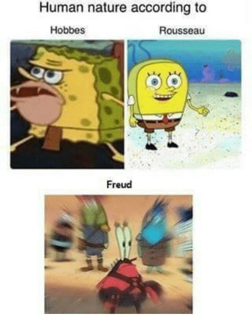 dank memes - Cartoon - Human nature according to Hobbes Rousseau Freud