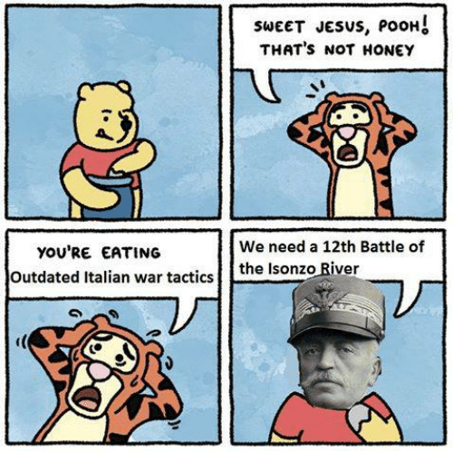 dank memes - Cartoon - SWEET JESUS, POOH! THAT'S NOT HONEY We need a 12th Battle of you'RE EATING Outdated Italian war tacticsthe Isonzo River