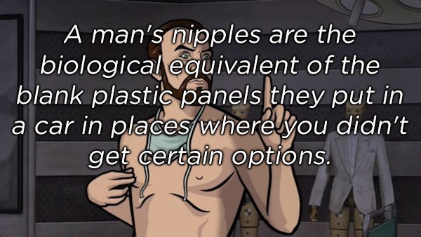 Text - A man's nipples are the |biologicaleguivalent of the blank plastic panels they put in a car in places wherelyou didn't get certain options