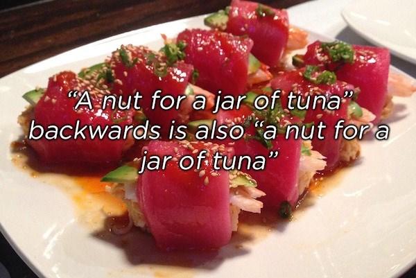 "Dish - Anut for a jar of tuna backwards is also a nut fora jar of tuna"""