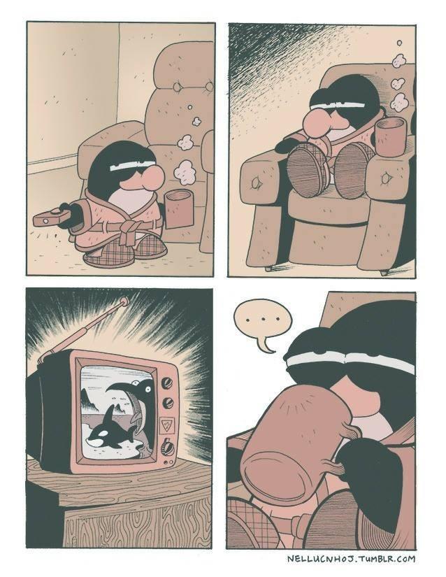 pinguino viendo como se comen a una ballena