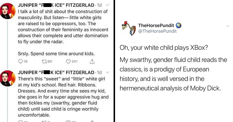 Cringey tweets from mom about swarthy, gender-fluid child, funny tweets about the mom's tweets.