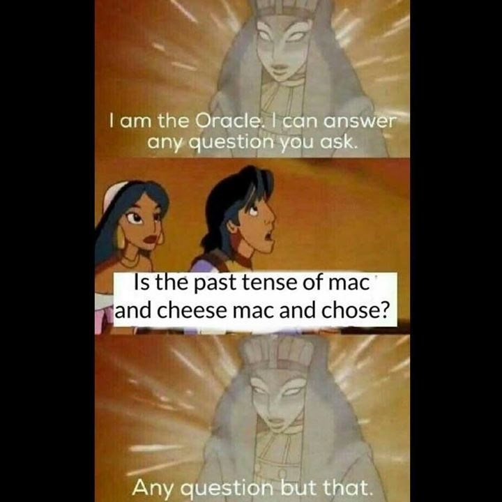 Facial expression - I am the Oracle. I can answer any question you ask. Is the past tense of mac and cheese mac and chose? Any question but that.