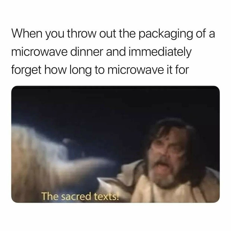 Funny meme about microwaving food.