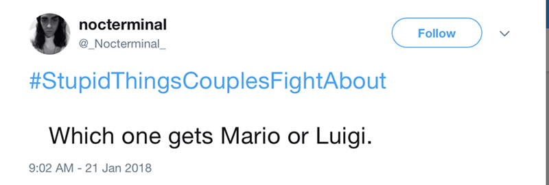 Text - nocterminal Follow @_Nocterminal_ #StupidThingsCouplesFightAbout Which one gets Mario or Luigi. 9:02 AM 21 Jan 2018