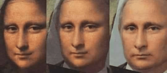 Funny meme about how Vladimir Putin looks like the mona lisa.
