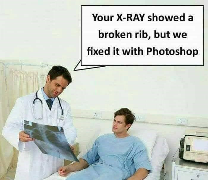 Funny meme about doctor fixing someone with photoshop.