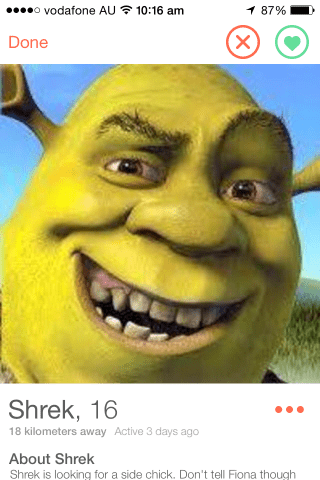 Face - o vodafone AU 10:16 am 87% (X Done Shrek, 16 18 kilometers away Active 3 days ago About Shrek Shrek is looking for a side chick. Don't tell Fiona though