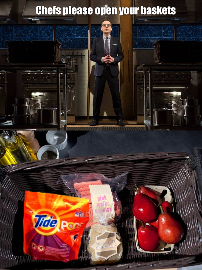 Funny meme about tide pods and top chef.