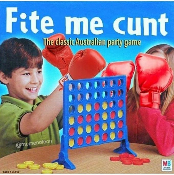 Play - Fite me cunt The dassic Australian party game @memepoleon MB MILTON AGES 7 and Up