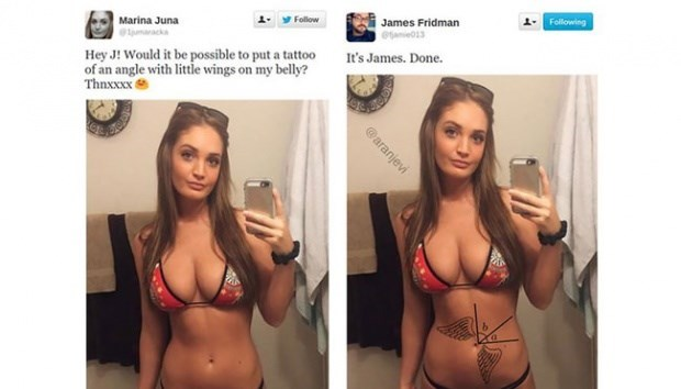 Lingerie - James Fridman eae01 Follow Marina Juna Following Hey J! Would it be possible to put a tattoo of an angle with little wings on my belly? Thnxxx It's James. Done. @aranjevi