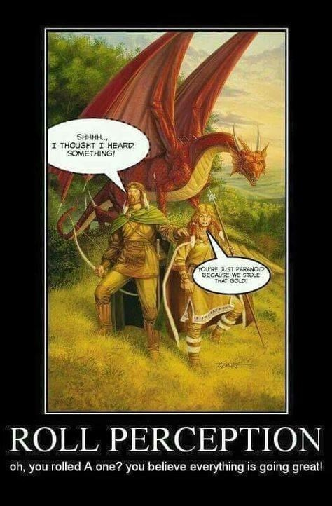 dd meme about rolling low on perception and thinking you rolled high with cover of Dragonlance book