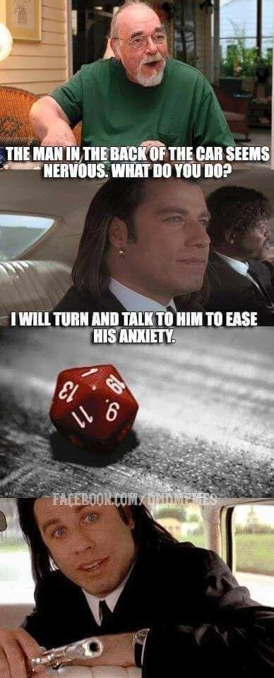 dd meme with John Travolta rolling 1 in Pulp Fiction and calming a guy by pointing a gun at him