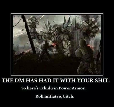 dd meme about the dungeon master pitting the players against impossible enemies