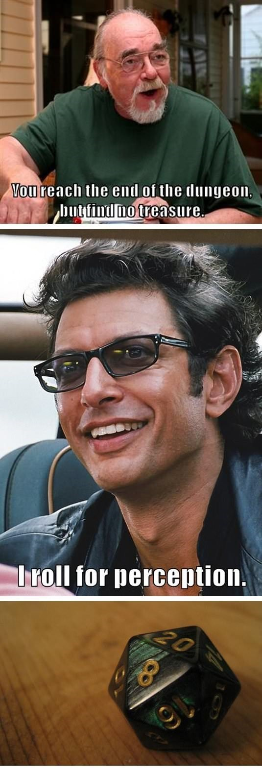 dd meme about Jeff Goldblum rolling high on perception to find treasure