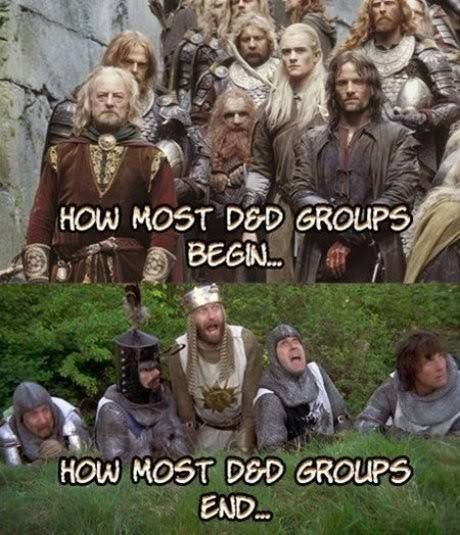 "dd meme about starting as the fellowship of the ring but ending as the knights from ""Monty Python and the Holy Grail"""