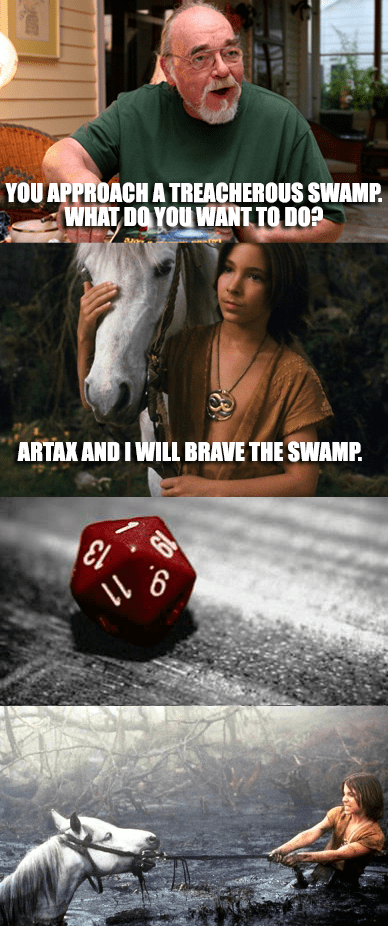 dd meme about Atreyu from The Neverending Story rolling low in the swamp
