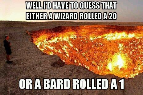 dd meme about a pit of fire being either a result of a high roll or a low one