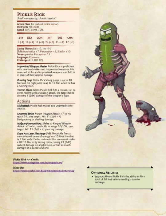 dd meme with character sheet for Pickle Rick from Rick and Morty
