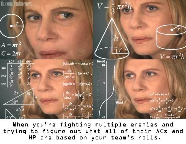 dd meme about making calculation while fighting enemies with the math lady meme