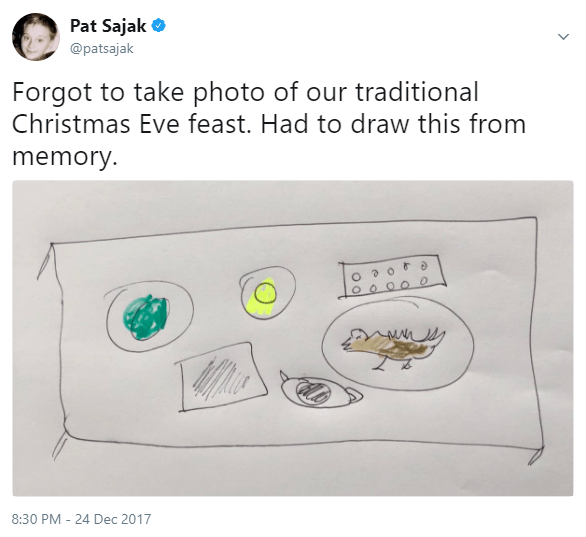 Text - Pat Sajak @patsajak Forgot to take photo of our traditional Christmas Eve feast. Had to draw this from memory. 8:30 PM 24 Dec 2017
