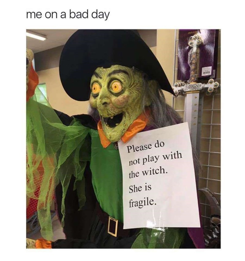 meme - Costume - me on a bad day Please do not play with the witch. She is fragile.