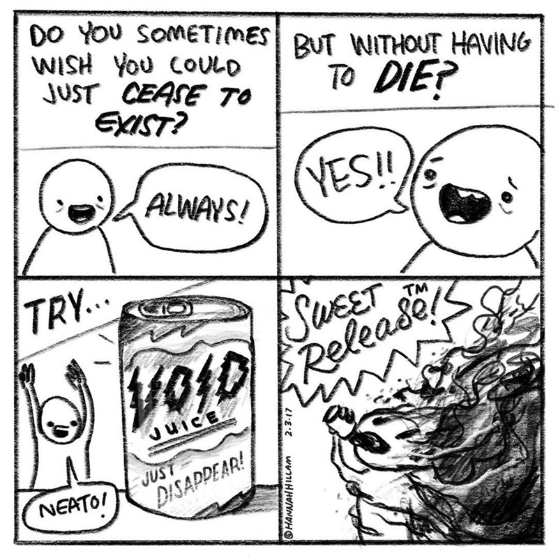 Funny comic about drinking the void by hannah hillam.