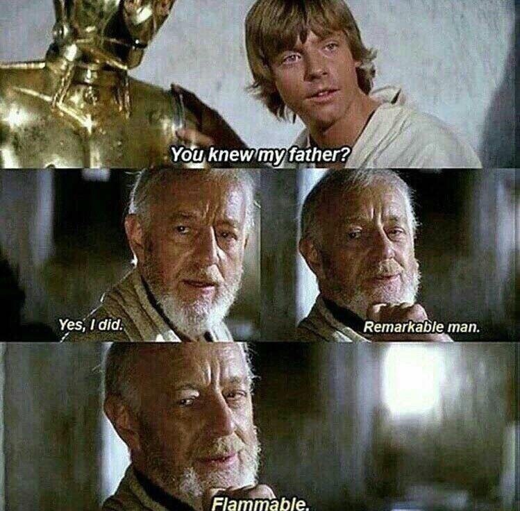funny star wars meme about luke skywalker asking obi-wan kenobi about his father.