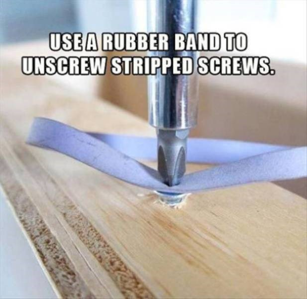 Table - USE A RUBBER BAND TO UNSCREW STRIPPED SCREWS.