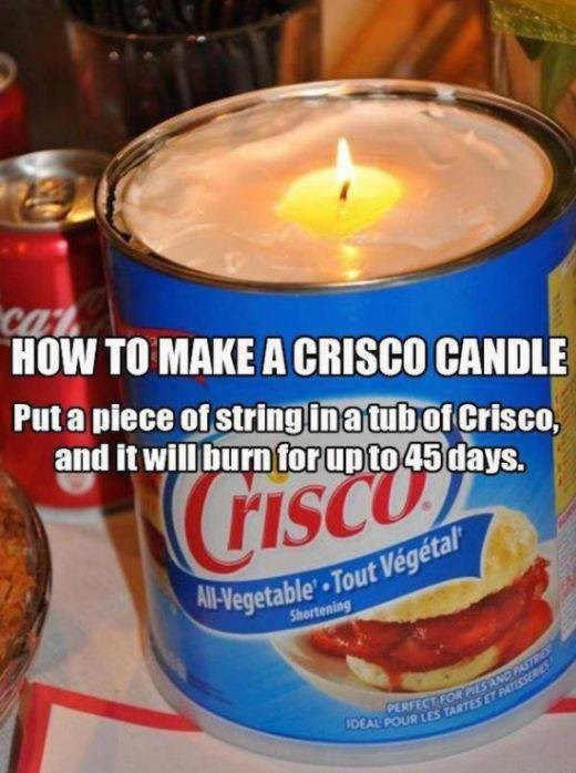 Food - Cat HOW TO MAKE A CRISCO CANDLE Put a piece of string in a tubof Crisco, and it will burn for up to 45 days. CGISCO risc A-Vegetable-Tout Vegétal Shortening PERFECT FOR PIES AND PSTES IDEAL POUR LES TARTES ET PATISSSERIES