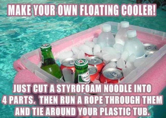 Photo caption - MAKE YOUR OWN FLOATING COOLER! JUST CUT A STYROFOAM NOODLE INTO 4 PARTS. THEN RUN A ROPE THROUGH THEM AND TIE AROUND YOUR PLASTIC TUB.