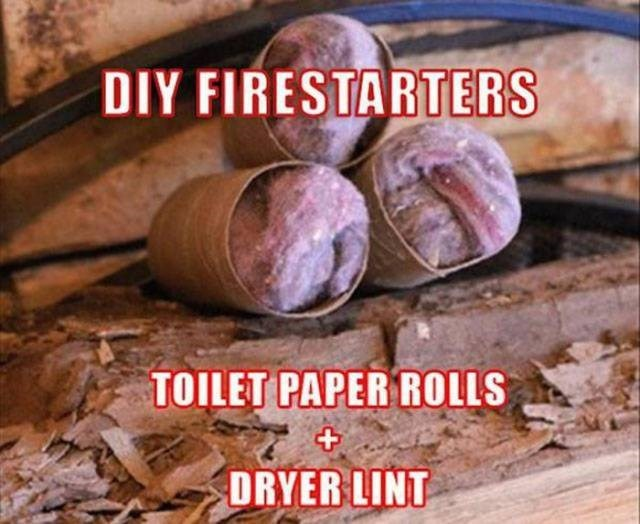 Wood - DIY FIRESTARTERS TOILET PAPER ROLLS DRYER LINT