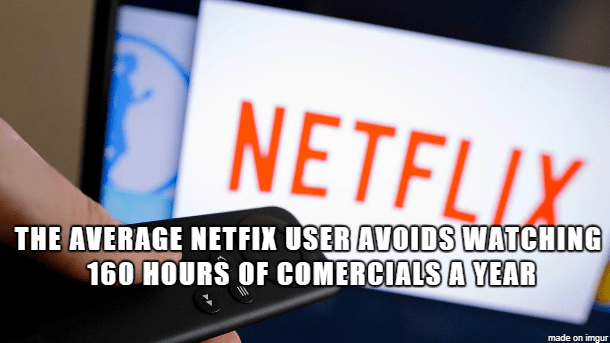 cool statistics that Netflix users don't watch 160 hours of commercials