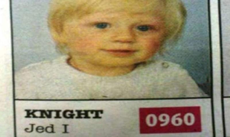 Funny meme about a child named Jed I. Knight, star wars joke, jedi knight.
