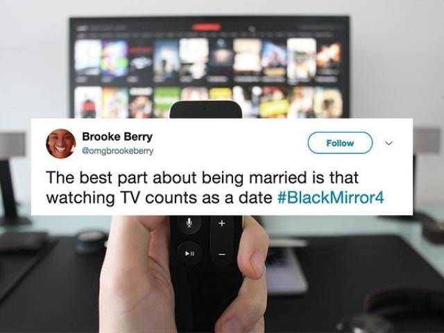 Product - Brooke Berry Follow @omgbrookeberry The best part about being married is that watching TV counts as a date #BlackMirror4