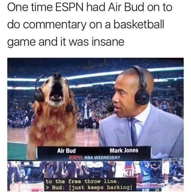Photo caption - One time ESPN had Air Bud on to do commentary on a basketball game and it was insane Mark Jones Air Bud NDA WEDNESDAY KI to the free throw line Bud: [just keeps barking)