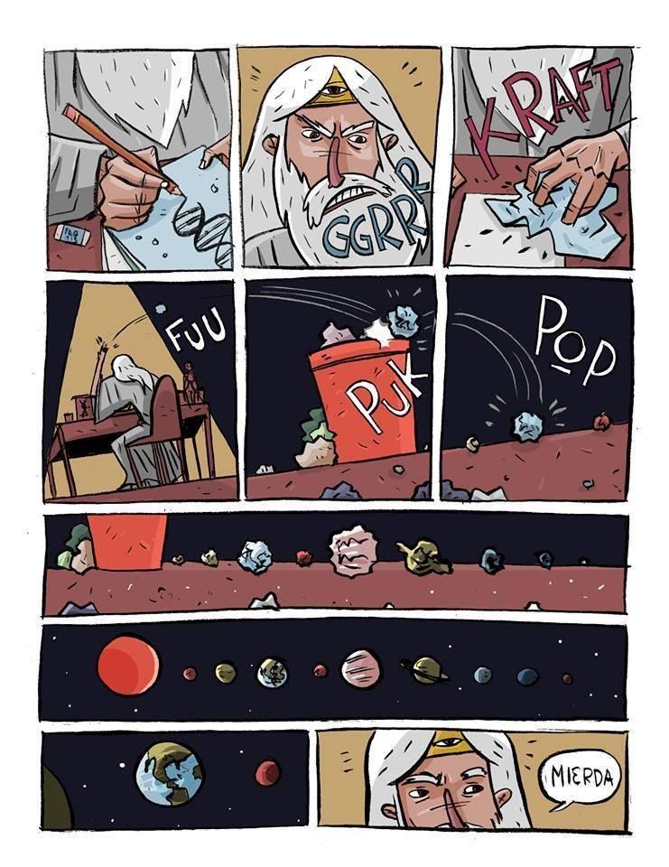 nacimiento del sistema solar cuando dios tiraba los papeles