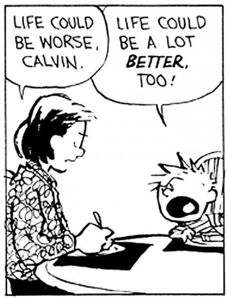 Cartoon - LIFE COULD LIFE COULD BE WORSE, BE A LOT BETTER TOO! CALVIN