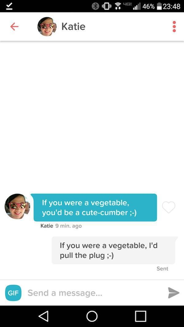 Text - LIG 23:48 46% Katie If you were a vegetable, you'd be a cute-cumber;-) Katie 9 min. ago If you were a vegetable, I'd pull the plug ) Sent Send a message... GIF O