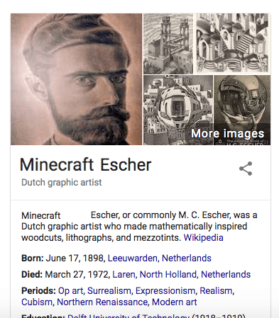 Funny meme suggesting that MC Escher's first name is minecraft.