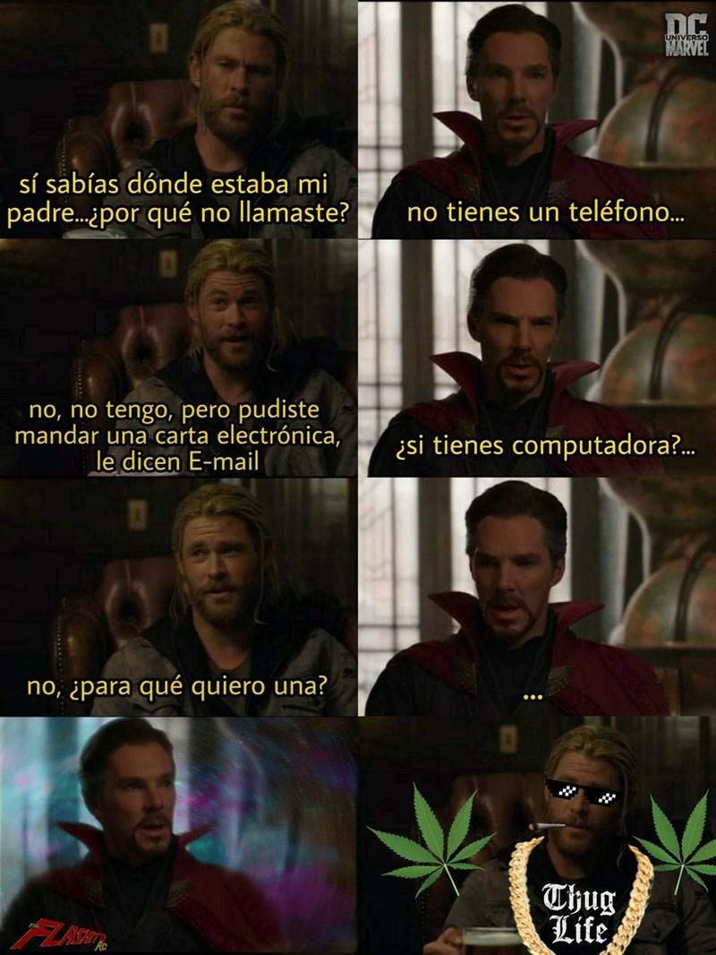 dialogo entre dr strange y thor en Thor Ragnarok