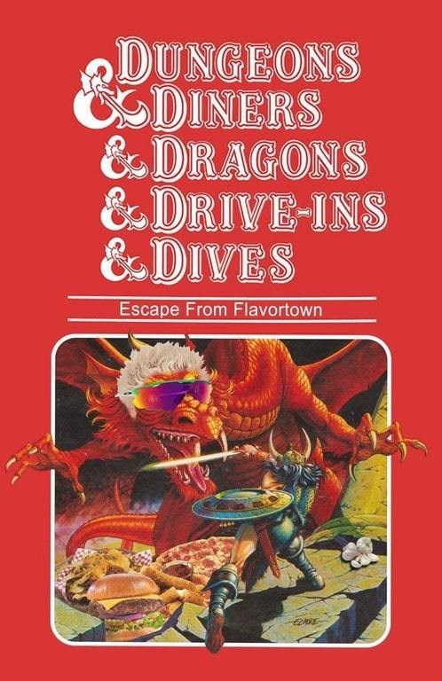funny meme about dungeons and dragons and guy fieri.