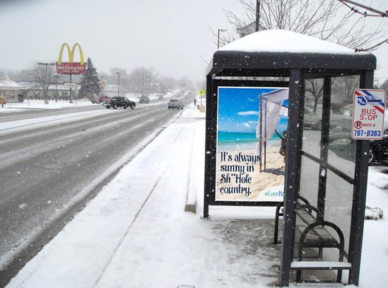 "Snow - Me BUS STOP RROUTE 787-8363 It's always Sunny in Sh""Hole country #LoveHa"