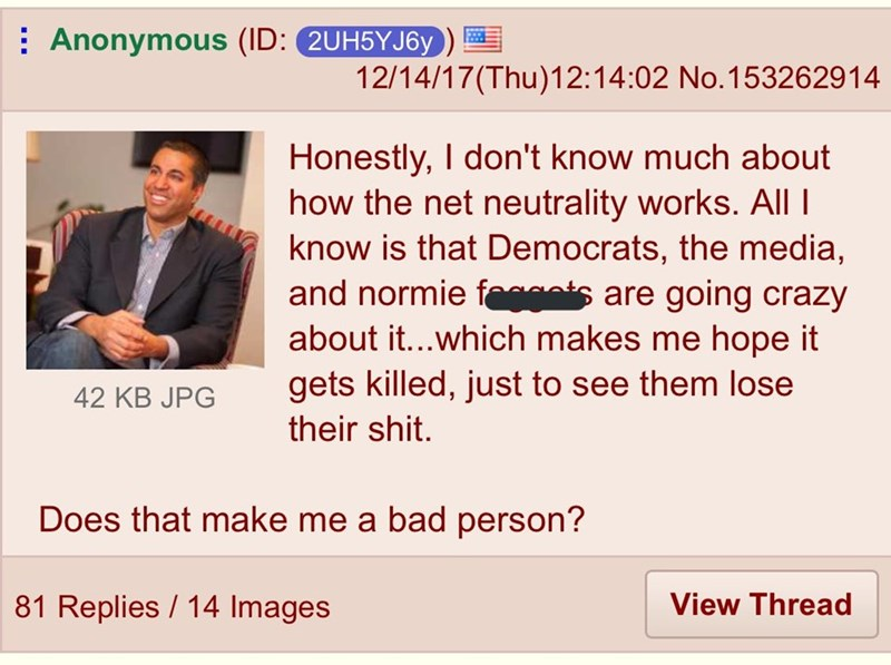 Text - Anonymous (ID: 2UH5YJ6y 12/14/17(Thu)12:14:02 No.15326 29 14 Honestly, I don't know much about how the net neutrality works. All I know is that Democrats, the media, and normie facts are going crazy about it...which makes me hope it gets killed, just to see them lose 42 KB JPG their shit. Does that make me a bad person? 81 Replies 14 Images View Thread